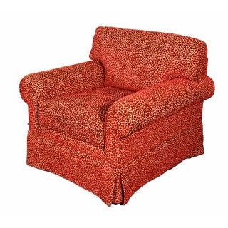 Red Animal Print Club Chair