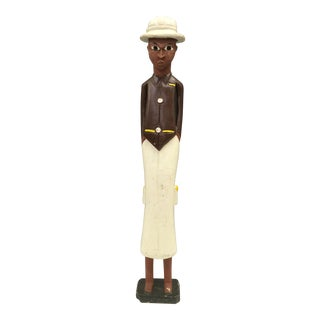 Cream African Carved Colonial Statue