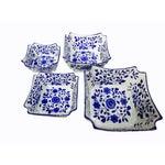 Porcelain Floral Nesting Blue & White Bowls - Set of 4