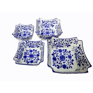 Porcelain Floral Nesting Blue & White Bowls - Set of 4