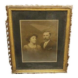 Vintage Framed Husband & Wife Portrait Photo