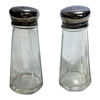 Vintage Glass Salt & Pepper Shakers - A Pair