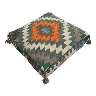 Tribal Turkish Kilim Floor Cushion Pouf - 28″ X 28″