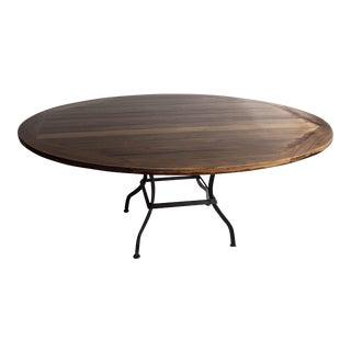 Outdoor Teakwood Dining Table Custom Made Marine Slat Varnish Wrought Iron Base (as, is)