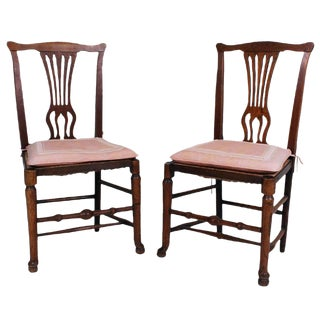 English Country Chippendale Side Chairs - A Pair