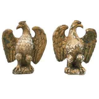 Vintage French Empire Style Stone Eagle Statues- A Pair