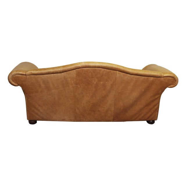 Large Vintage French Camelback Leather Couch - Image 3 of 9