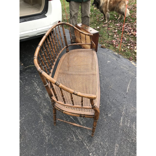 British Colonial Faux Bamboo Cane Settee - Image 2 of 4