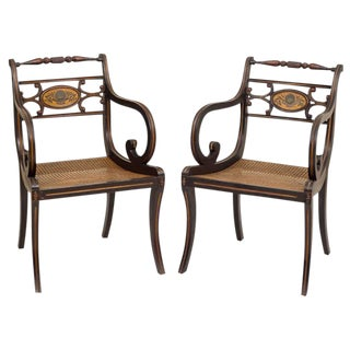 Regency Style Fancy Painted Armchairs - A Pair