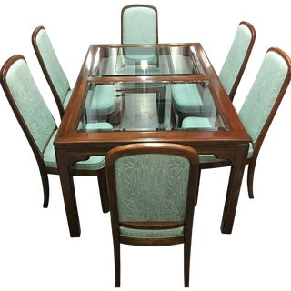 Vintage Ethan Allen Dining Set W/ 6 Chairs, 2 Leaf