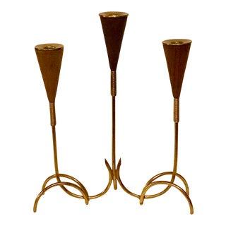 Mid-Century Modern Walnut and Brass Candelabra