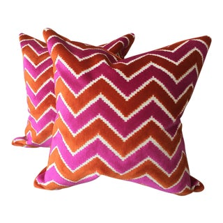 Brunschwig & Fils Pink Orange Velvet Silk Pillows - A Pair