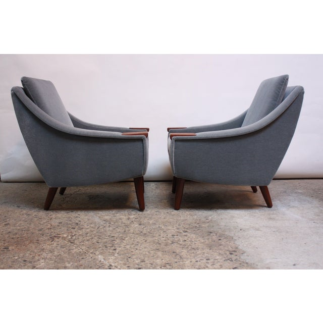 Pair of Danish Modern Teak and Mohair Lounge Chairs - Image 4 of 11