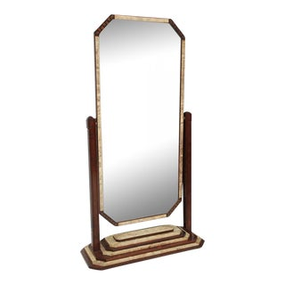 Fine Art Deco Shagreen and Rosewood Cheval Mirror