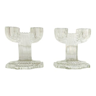 Vintage Deco Candle Holders - A Pair