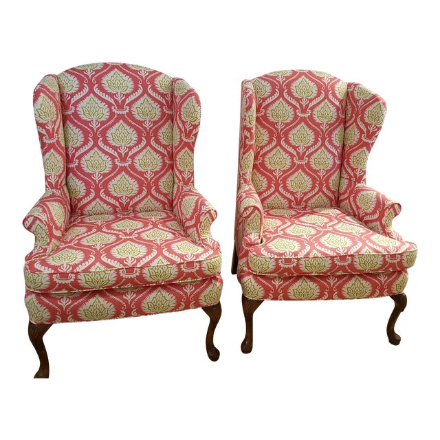 Artichoke Wingback Chairs A Pair Chairish