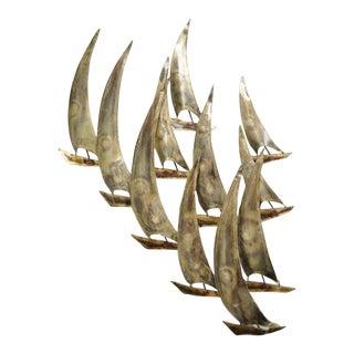 Vintage RaMan Brutalist Mid-Century Modern Boats Wall Sculpture