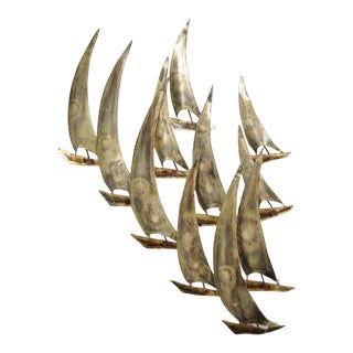 Vintage RaMan Brutalist Mid Century Modern Ships Boats Wall Sculpture Jere Style