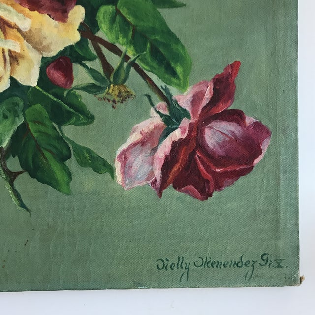 Vintage Still Life Rose Painting - Image 2 of 8