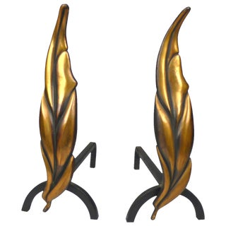Solid Brass Flamed Leaf Andirons