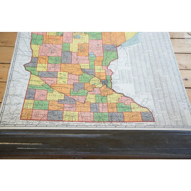 Antique Nystrom Pull Down Map of Minnesota - Image 3 of 9