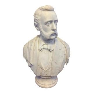 Carrara Marble American Victorian Bust of a Gentleman
