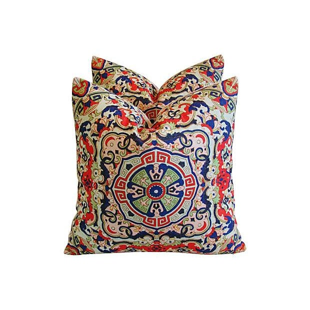 Asian Floral Medallion Linen Pillows - Pair - Image 4 of 7