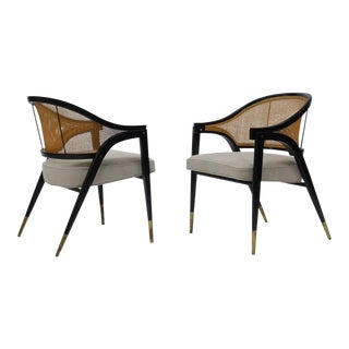 Caned back occasional chairs by Edward Wormley for Dunbar