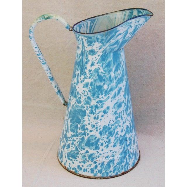 Blue & White French Enameled Porcelain Pitcher - Image 2 of 7