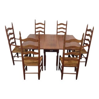 Colonial Style Carved Maple Dining Room Set - S/7