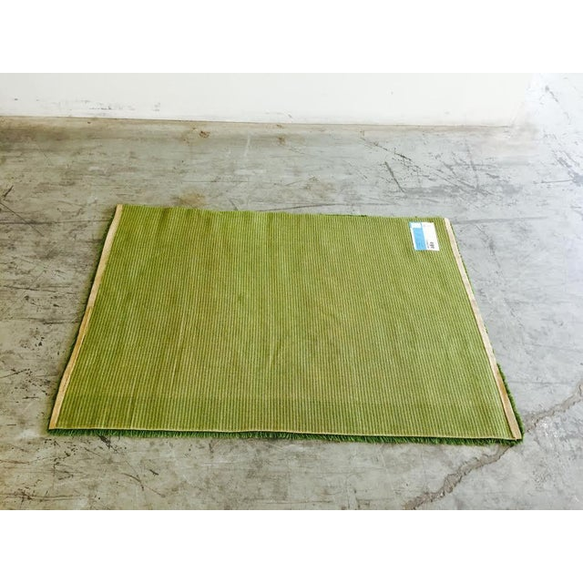 Image of 1960's Danish Hand-Woven Green Rya Shag Rug