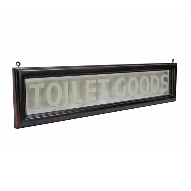 """Vintage Etched Glass """"Toilet Goods"""" Sign - Image 3 of 3"""