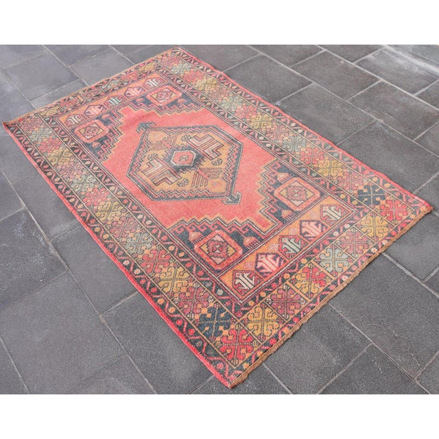 "Vintage Turkish Handmade Anatolian Wool Carpet - 3'6"" X 5'6"" - Image 3 of 7"