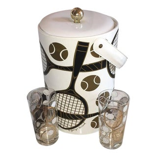 Georges Briard Signed Tennis Themed Ice Bucket and Pair of Tom Collins Glasses