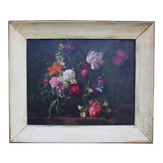 1900s Alois Zabehlicky Floral & Butterflies Still Life Oil Painting Flemish School
