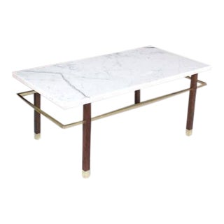 Harvey Probber Marble Top Rectangular Coffee Table w/ Brass Rectangular stretche