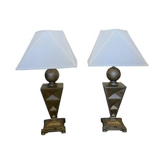 Faux Brass Pyramid Table Lamps - A Pair