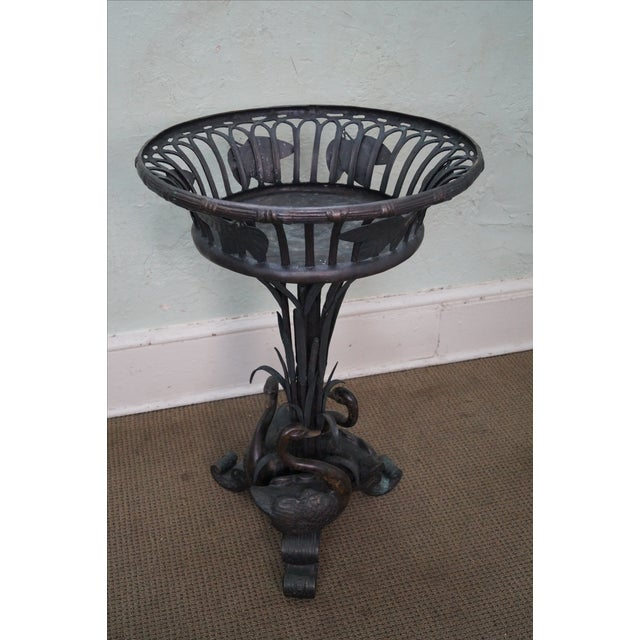 Maitland Smith Large Bronze Pedestal Planter - Image 2 of 10