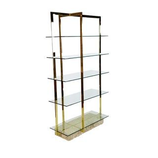 Modern Brass Etagere With Faux Tesselated Marble Base