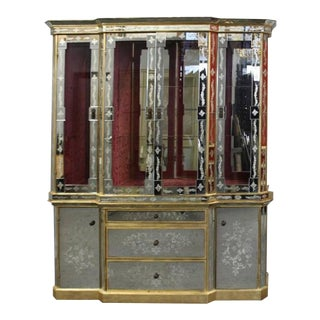 Hollywood Regency Italian Églomisé Glass and Mirrored Breakfront China Cabinet