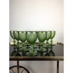 Image of Green Pressed Glass Goblets - Set of 10