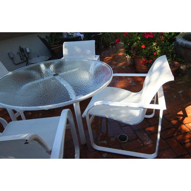 Brown Jordan Outdoor Dining Umbrella Table Set - Image 4 of 5