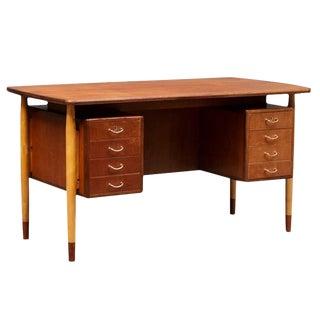 Danish Modern Teak and Beechwood Desk