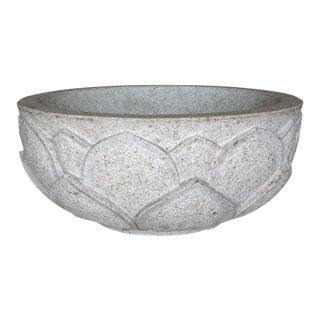 Carved Lotus Stone Bowl