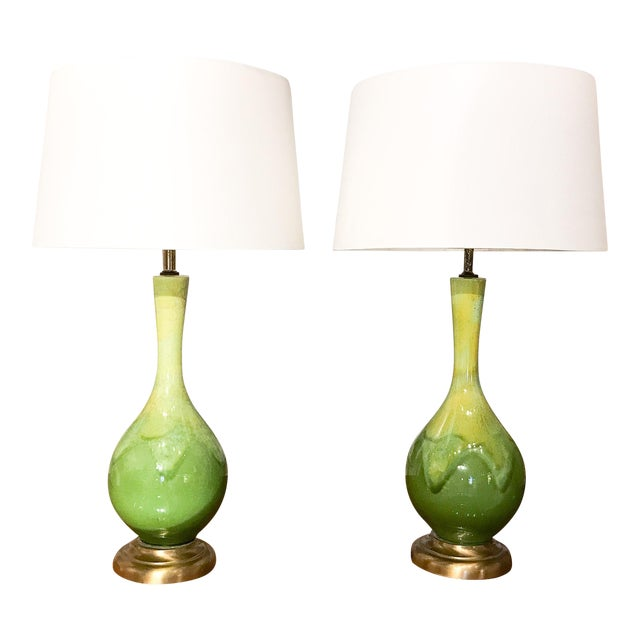 Mid-Century Green Glazed Lamps - A Pair - Image 1 of 10