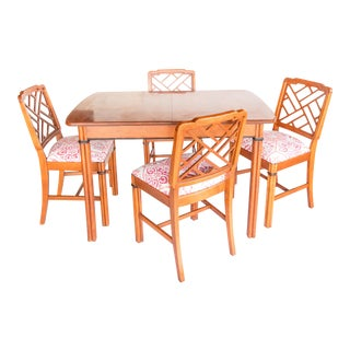 Chinoiserie Dining Table & Fretwork Chairs - Set of 5
