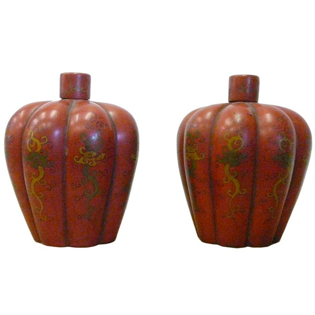 Chinese Red Orange Lacquer Lidded Containers -Pair - Image 1 of 6