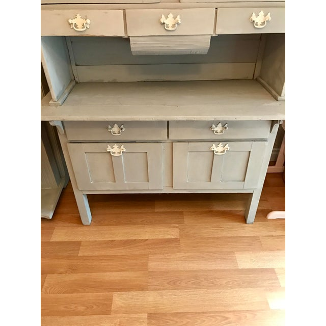 Vintage Gray Painted Hutch - Image 5 of 6