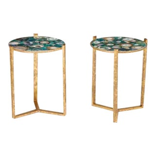 Hollywood Regency Style Agate Top Side Tables - A Pair