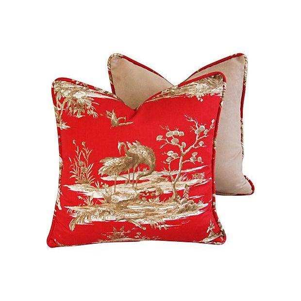 Designer Shanghai Crane Toile Pillows - Pair - Image 6 of 8